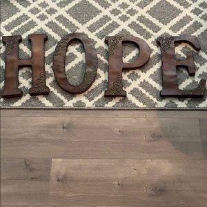 Metal HOPE letters